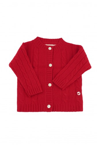 Baby Strickjacke Zopfmuster red