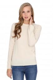 Women's round-neck cashmere sweater offwhite