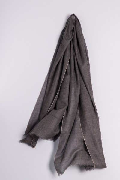 Eco-Shahtoosh Stripes Charcoal / Ash Grey