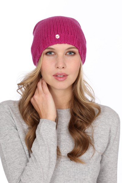 Coarsely knit cashmere cap raspberry pink