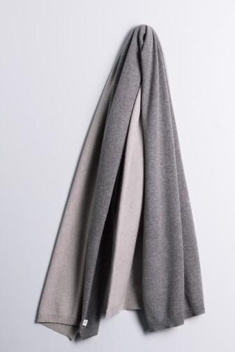 Strickschal double ash grey / derby grey
