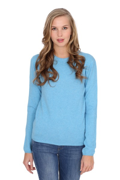 Women's round-neck cashmere sweater air blue