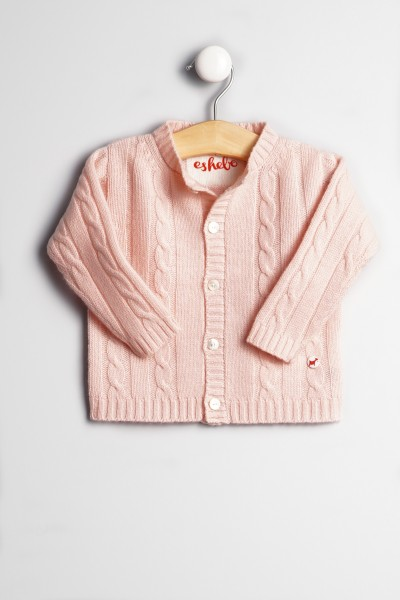 Baby Strickjacke Zopfmuster baby pink