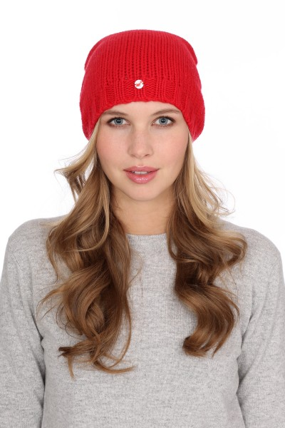 Coarsely knit cashmere cap red