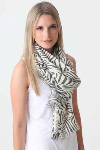 Pashmina Couture Print Zebra charcoal gray