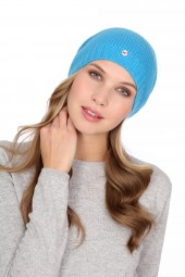 Fine Knit Cashmere Cap cyan blue