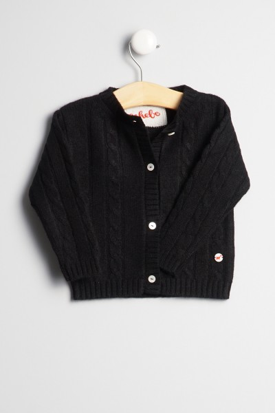 Baby Strickjacke Zopfmuster black