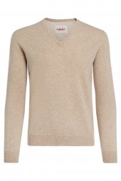 Men's V-neck cashmere sweater sand beige