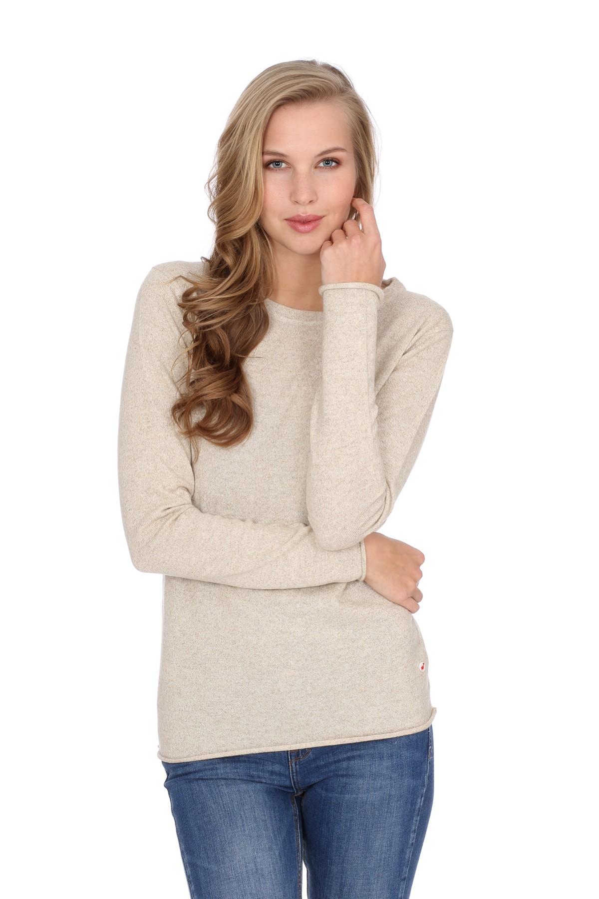Women's long sleeve cashmere top linen