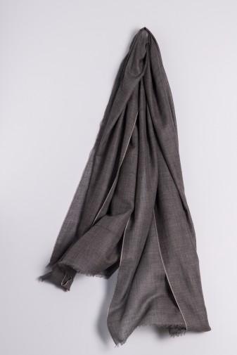 Eco-Shahtoosh Stripes Charcoal / Ash Grey