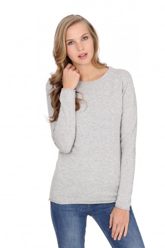 Women's long sleeve cashmere top oyster gray