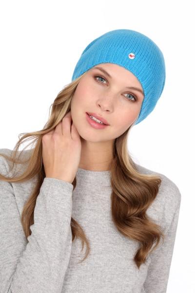 Kaschmirmütze Feinstrick cyan blue