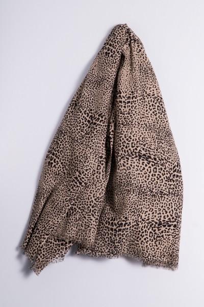 Kaschmirtuch Lalitpur Leopard Black
