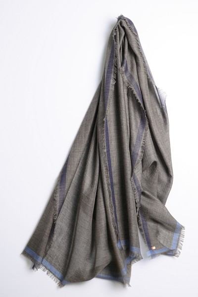 Eco-Shahtoosh Ligne Shawl Charcoal Grey