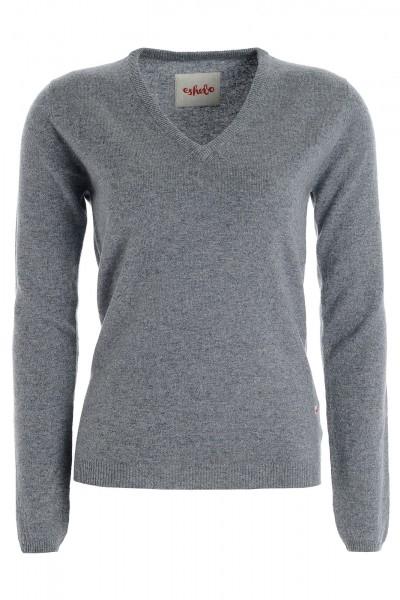 Women's cashmere V-neck sweater uniform grey
