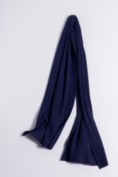 Cashmere ribbed scarf navy