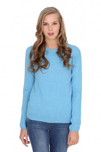 Kaschmirpullover Round-Neck air blue