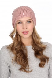 Coarsely knit cashmere cap cameo rosé