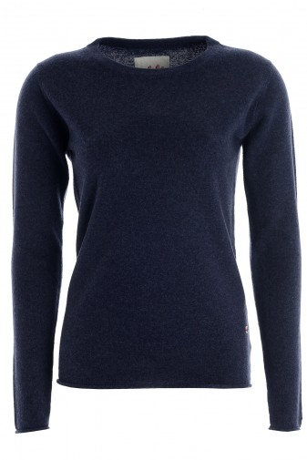 Women's long sleeve cashmere top navy