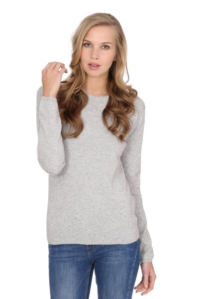 Women's round-neck cashmere sweater oyster gray