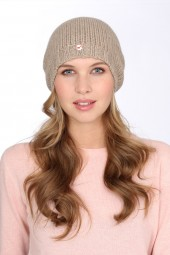 Coarsely knit cashmere cap natural grey