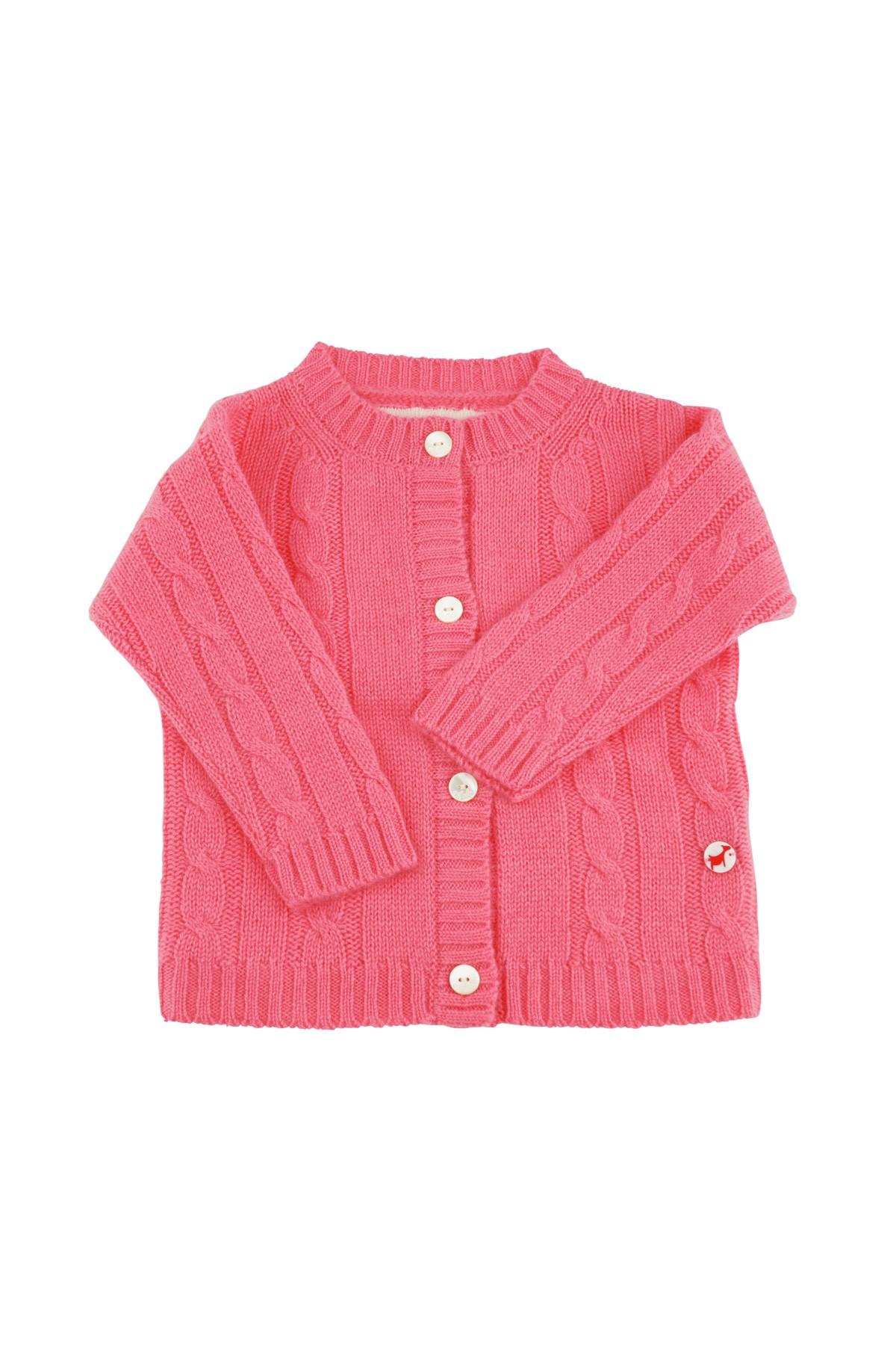 Baby Strickjacke Zopfmuster pink