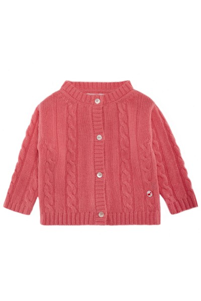 Baby Strickjacke Zopfmuster hot pink