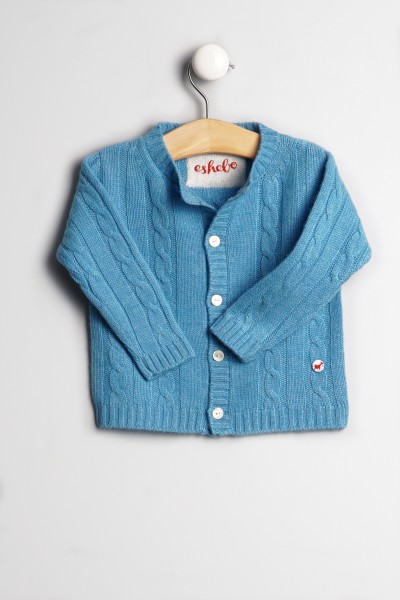 Baby Strickjacke Zopfmuster air blue