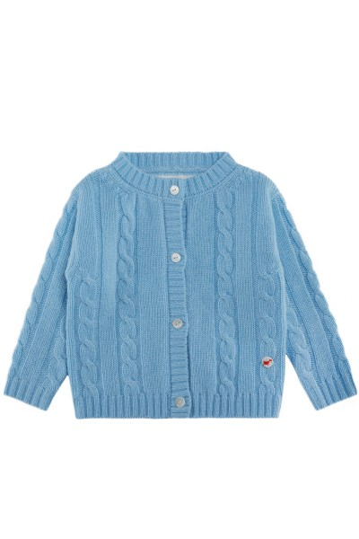 Cable knit cashmere jacket for babies air blue