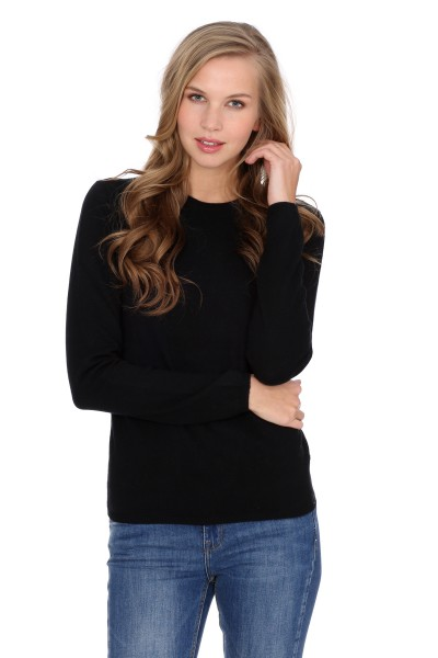 Women's round-neck cashmere sweater black
