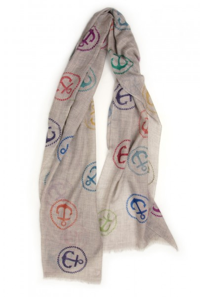 Eco-Shahtoosh Grey Anchor Multicolour