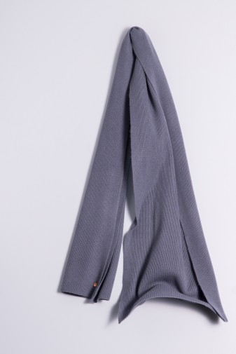 Cashmere ribbed scarf antracite