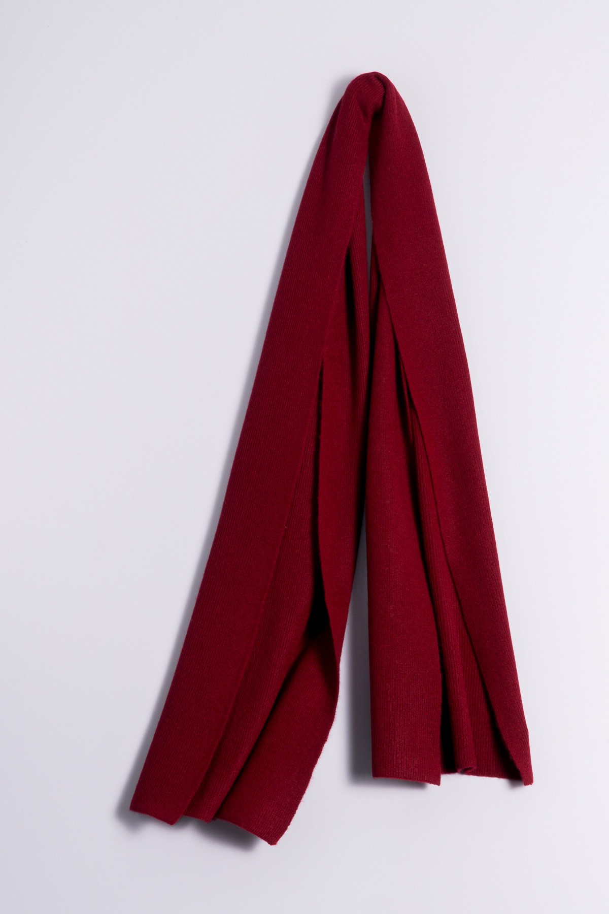 Cashmere ribbed scarf bordeaux