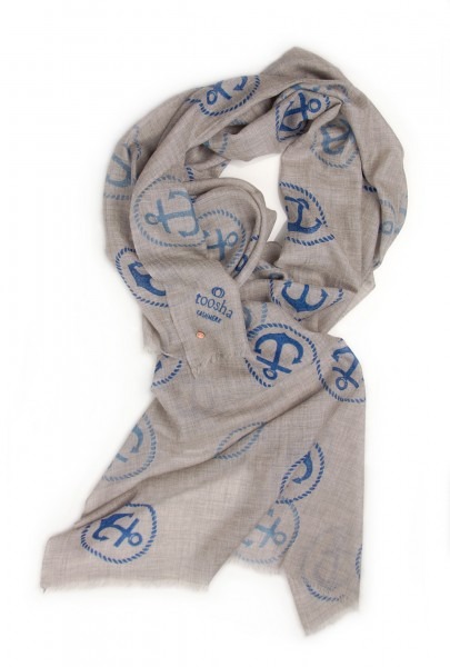 Eco-Shahtoosh Grey Anchor Blue / Blue