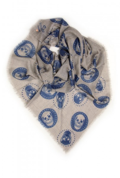 Eco-Shahtoosh Grey Carré Skull Amparo Blue