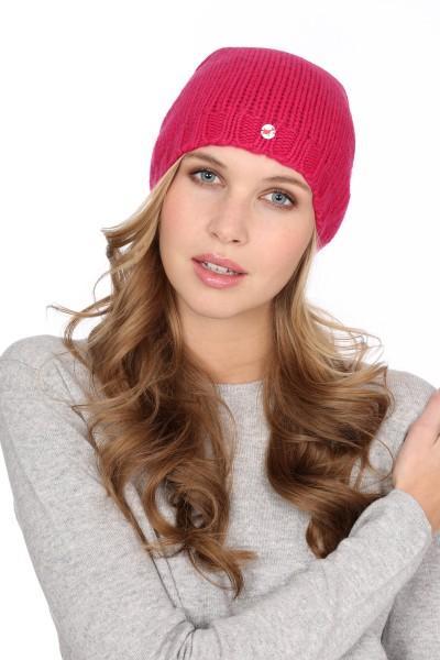 Kaschmirmütze Grobstrick fuchsia pink
