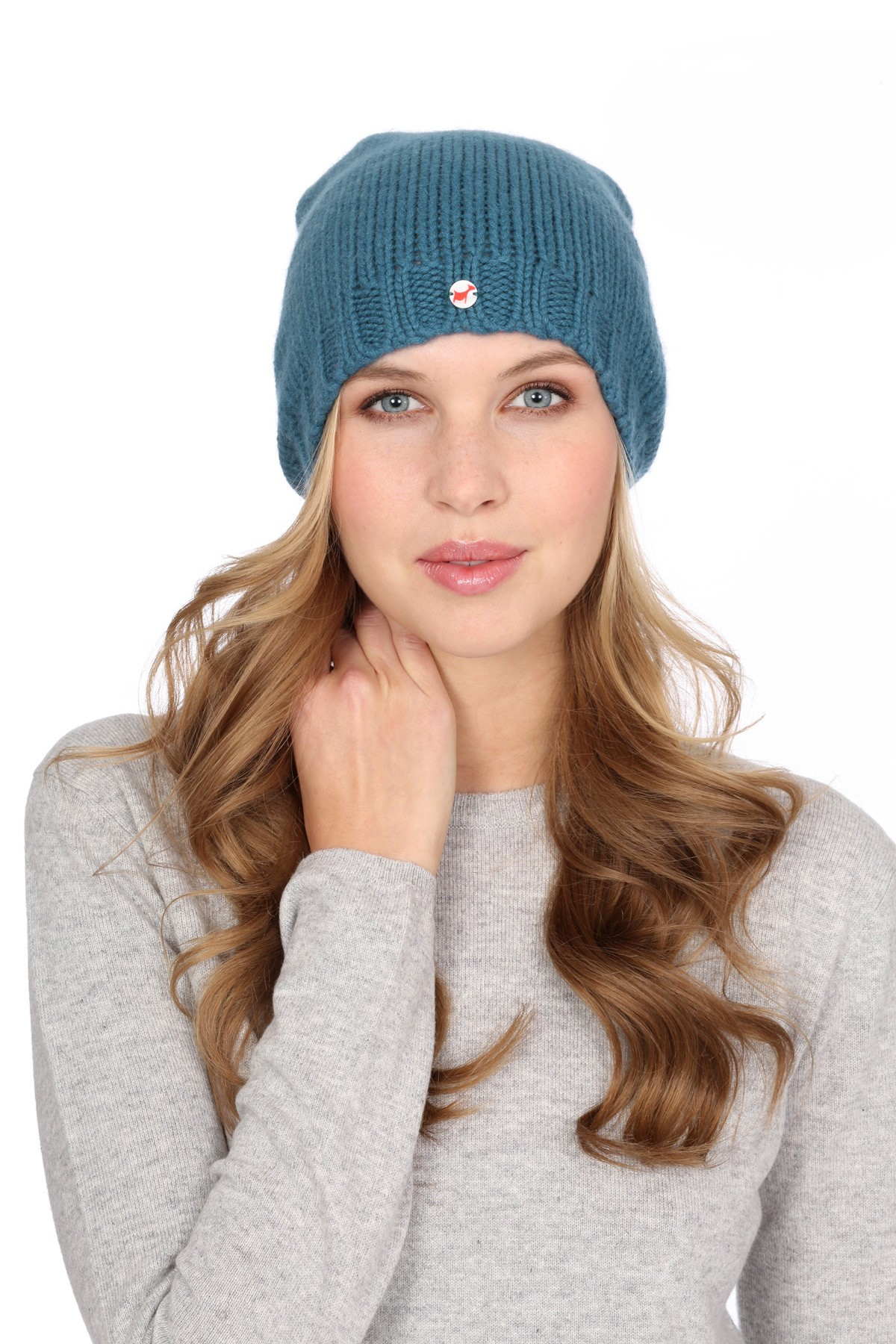 Coarsely knit cashmere cap sapphire
