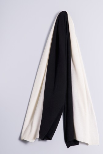 Strickschal double white/black