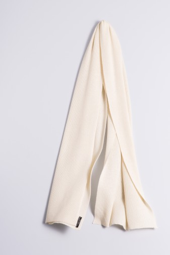 Cashmere ribbed scarf creme