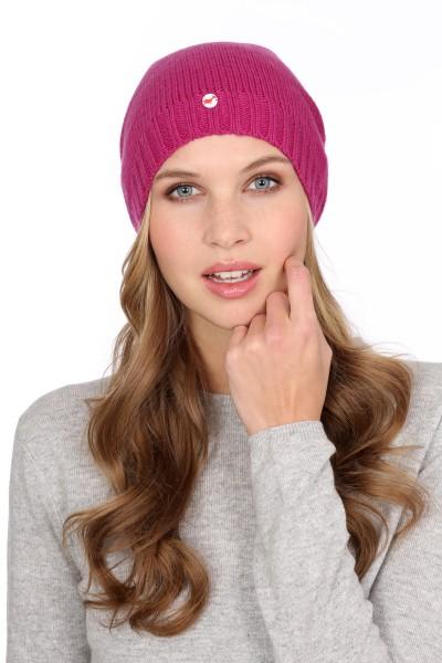 Fine Knit Cashmere Cap raspberry pink