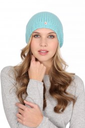 Coarsely knit cashmere cap turquoise