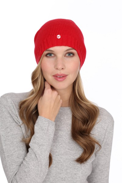 Fine Knit Cashmere Cap red