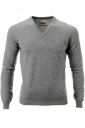 Men's V-neck cashmere sweater grey