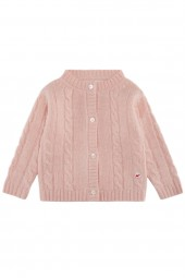 Cable knit cashmere jacket for babies baby pink