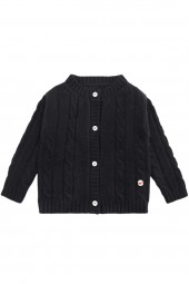 Cable knit cashmere jacket for babies black