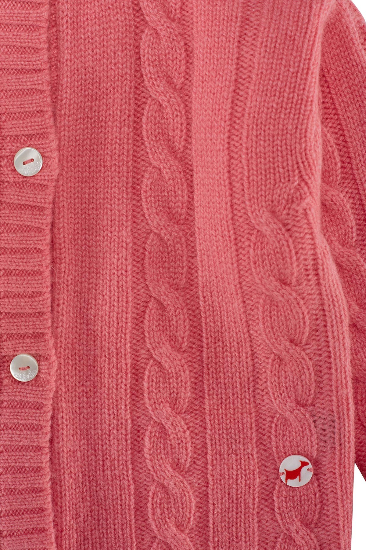 Cable knit cashmere jacket for babies hot pink