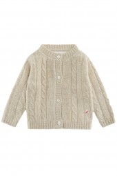Cable knit cashmere jacket for babies linen