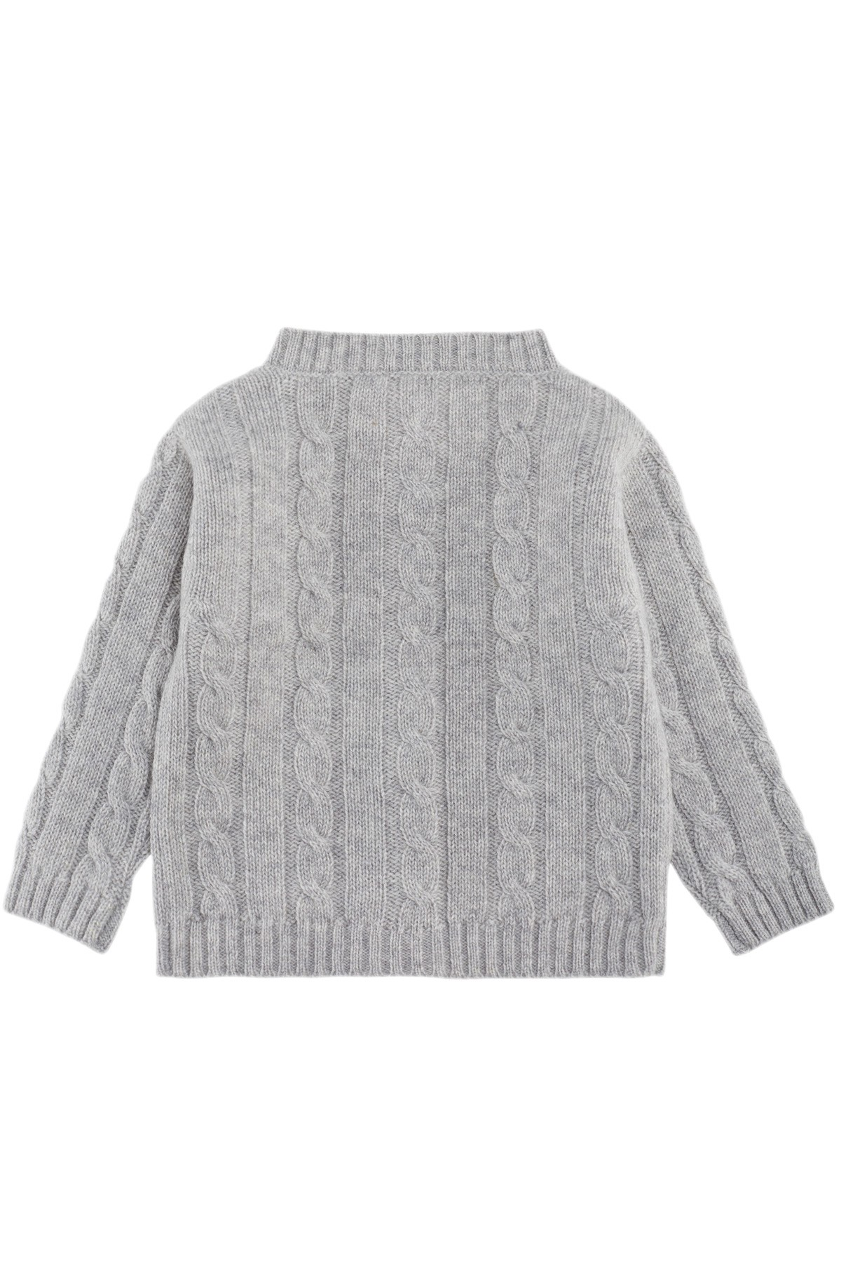 Cable knit cashmere jacket for babies oyster gray