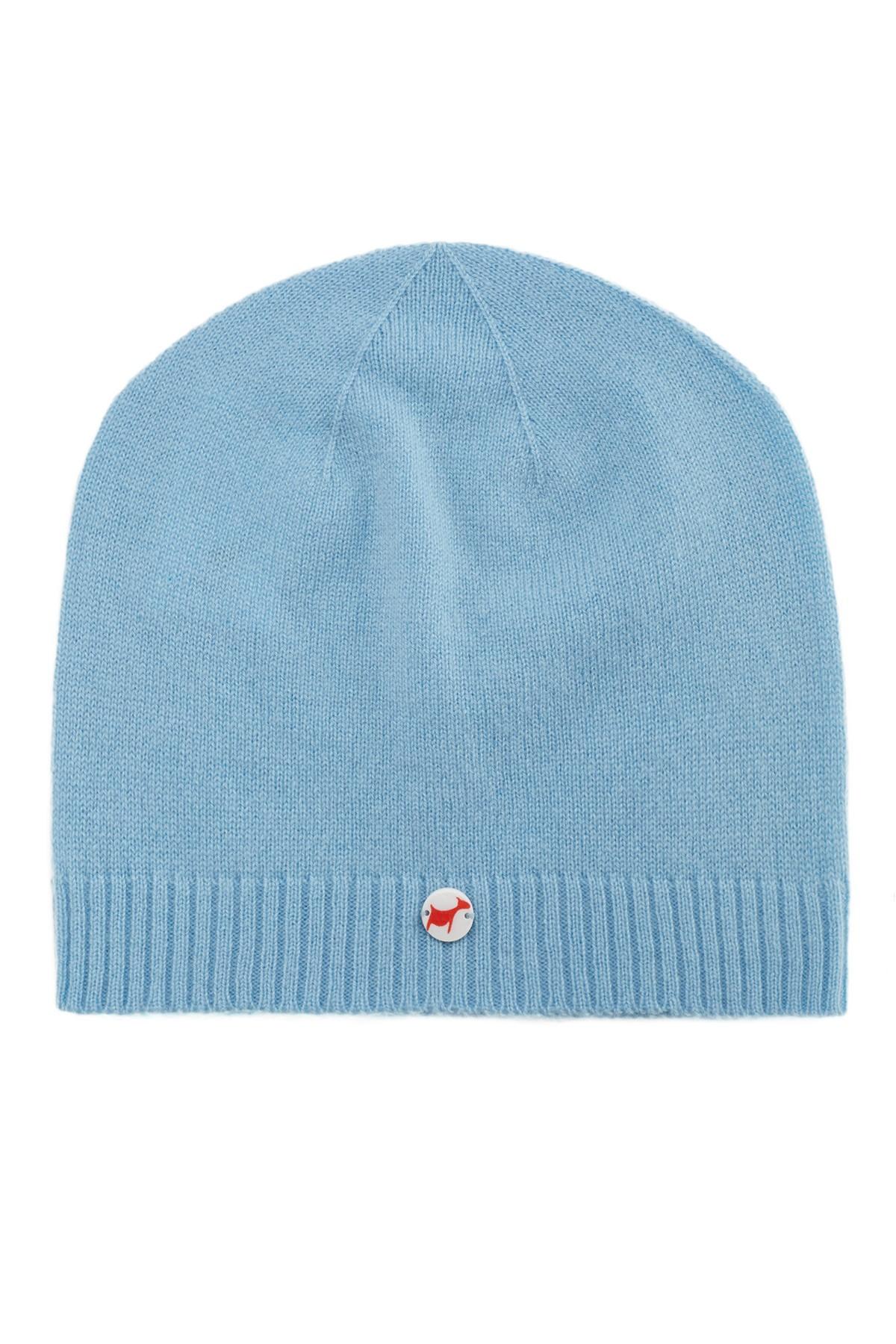 Fine knit cashmere baby cap air blue