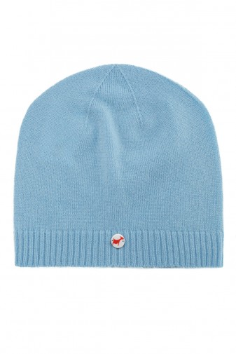 Fine knit cashmere baby cap air blue